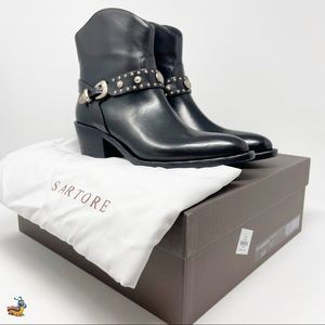 NEW Sartore black booties with silver detail
